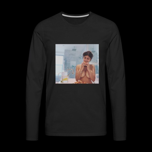 Mia Khalifa Eating A Burger - Men's Premium Long Sleeve T-Shirt
