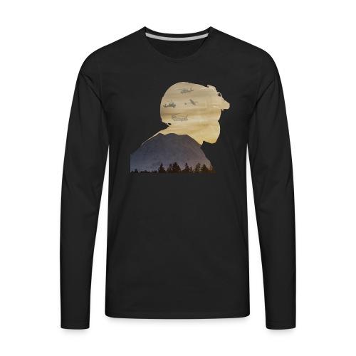 Crew Chief Silhouette with Mount Rainier - Men's Premium Long Sleeve T-Shirt