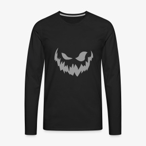 Scary Face (Grey) - Men's Premium Long Sleeve T-Shirt