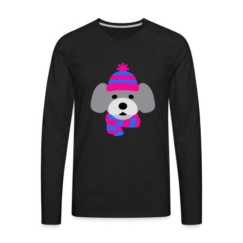 Cute Grey dog in pink and blue hat and scarf - Men's Premium Long Sleeve T-Shirt