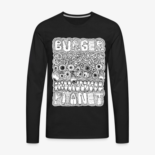 Burger Planet Hand Drawn Graphic - Men's Premium Long Sleeve T-Shirt