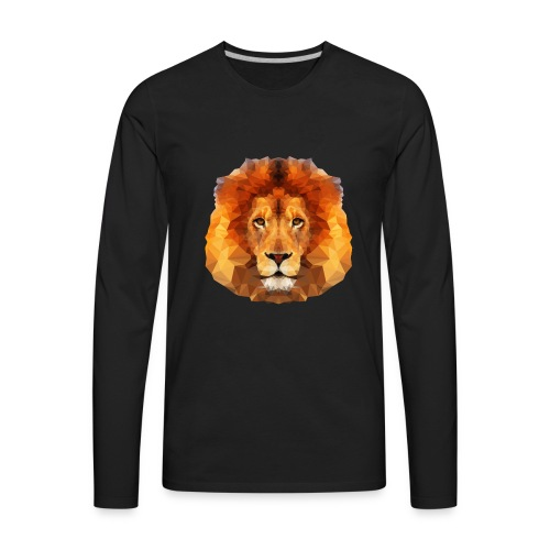 Low Poly Lion Face - Men's Premium Long Sleeve T-Shirt
