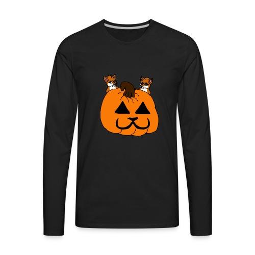 foxes with pumpkin - Men's Premium Long Sleeve T-Shirt