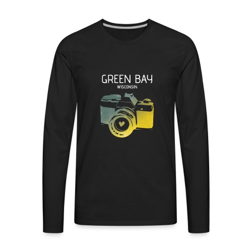 Green Bay camera with heart - Men's Premium Long Sleeve T-Shirt
