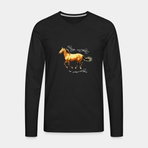Never live without horse lover art polygon - Men's Premium Long Sleeve T-Shirt