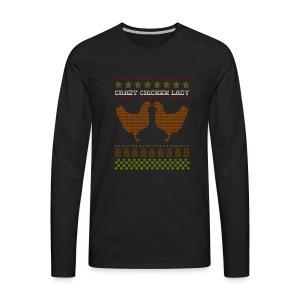 Crazy Chicken Lady Cross-Stitch Design - Men's Premium Long Sleeve T-Shirt