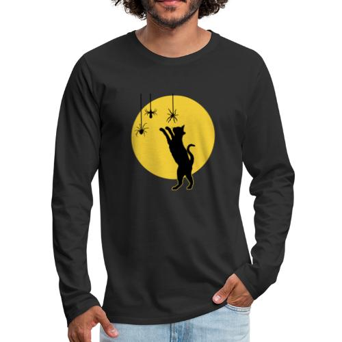 Full Moon with Black Cat and Spiders Halloween - Men's Premium Long Sleeve T-Shirt