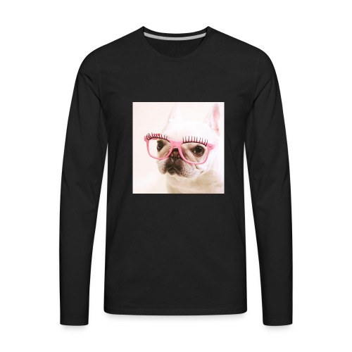 Cute dog wearing pink glasses - Men's Premium Long Sleeve T-Shirt