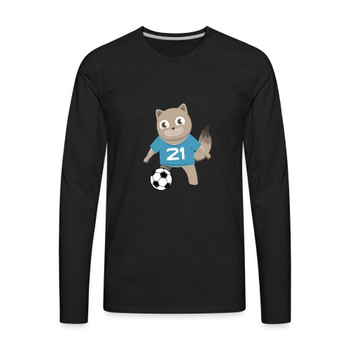 Kitty Soccer - Football - Cat with Ball - Men's Premium Long Sleeve T-Shirt