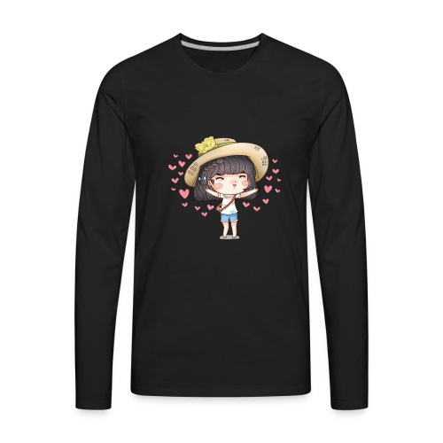 Cute happy girl with heart around - Men's Premium Long Sleeve T-Shirt
