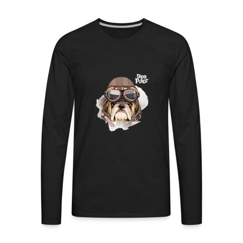 Portrait Bulldog Vintage Leather Aviator Helmet - Men's Premium Long Sleeve T-Shirt