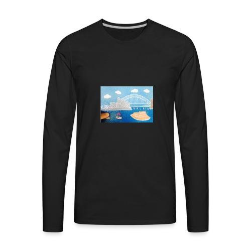 Sydney Harbour Sand Art 800x554 - Men's Premium Long Sleeve T-Shirt