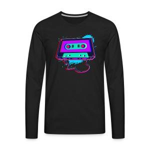 80s Music Cassette Tape : 3D, Neon, 80s songs - Men's Premium Long Sleeve T-Shirt