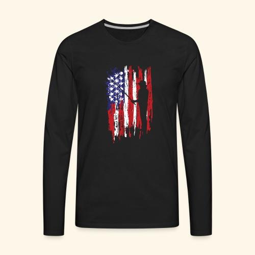 Fisherman US Flag - Men's Premium Long Sleeve T-Shirt