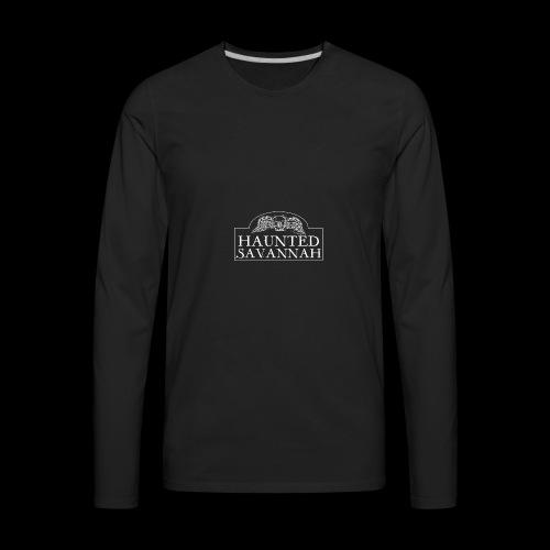 Haunted Savannah Tours Logo (White and Transparent - Men's Premium Long Sleeve T-Shirt