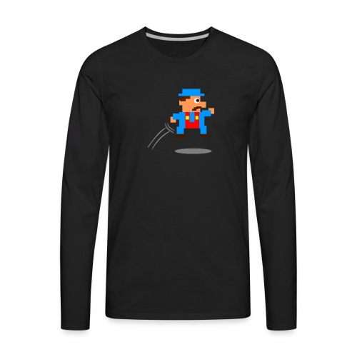 Blue Guy Jumping - Men's Premium Long Sleeve T-Shirt