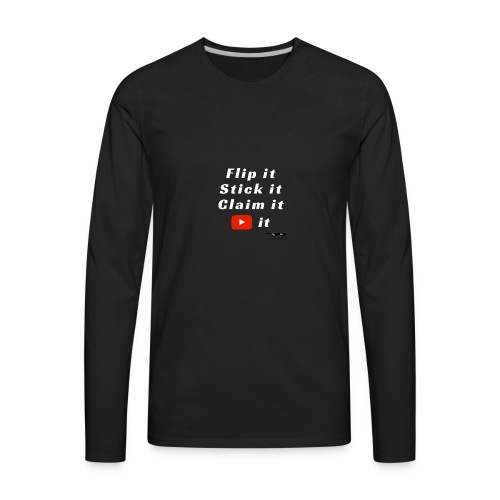Flip It White Design T-Shirt - Back Flip Inverted - Men's Premium Long Sleeve T-Shirt
