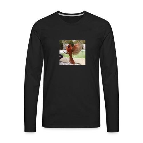 Northern Cardinal in Flight - Men's Premium Long Sleeve T-Shirt