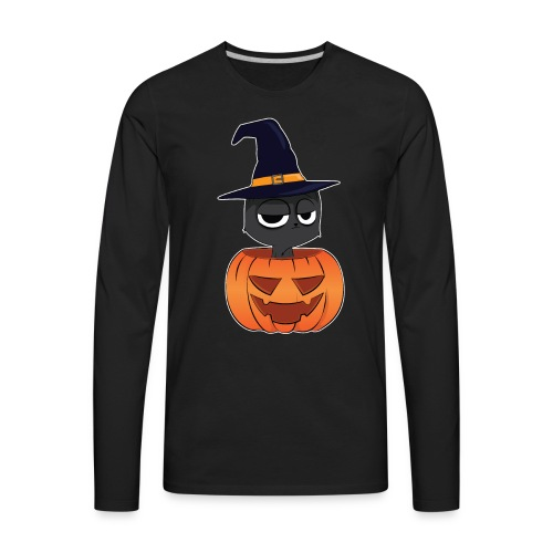 Witch Cat in a Jack o Lantern Halloween Shirt - Men's Premium Long Sleeve T-Shirt