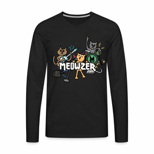 Meowzer! Funny Cute Cat Kitty Band, Adorable Silly - Men's Premium Long Sleeve T-Shirt