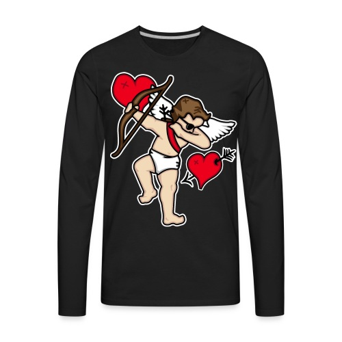 Dabbing Cupid For Valentines Day Gift T shirts - Men's Premium Long Sleeve T-Shirt