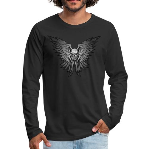 Classic Distressed Skull Wings Illustration - Men's Premium Long Sleeve T-Shirt