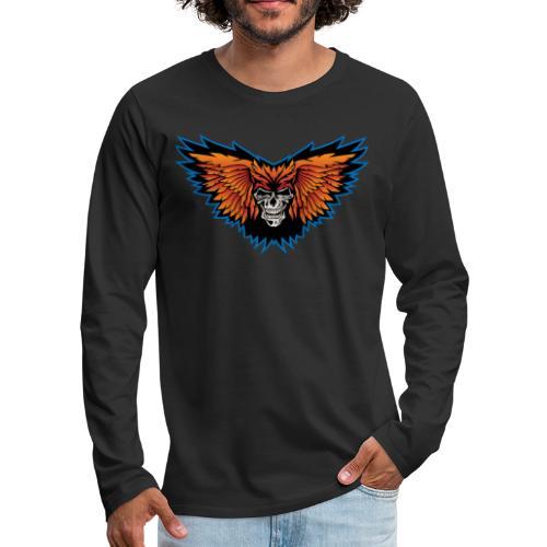 Winged Skull Illustration - Men's Premium Long Sleeve T-Shirt