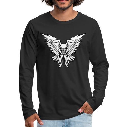 Classic Old School Skull Wings Illustration - Men's Premium Long Sleeve T-Shirt
