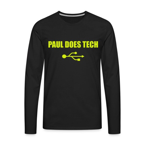 Paul Does Tech Yellow Logo With USB (MERCH) - Men's Premium Long Sleeve T-Shirt