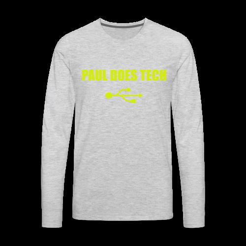 Paul Does Tech Yellow Logo With USB (MERCH) - Men's Premium Long Sleeve T-Shirt