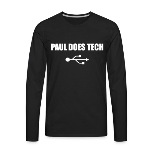 Paul Does Tech White Logo With USB - Men's Premium Long Sleeve T-Shirt