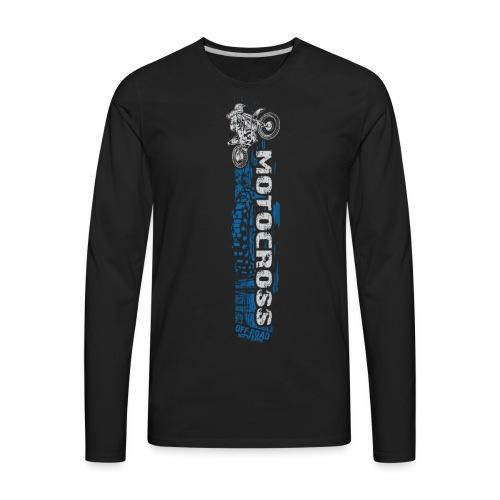 Motocross Side Panel Blue - Men's Premium Long Sleeve T-Shirt