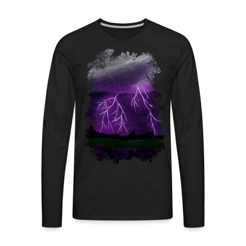 Purple Lightning Scene - Men's Premium Long Sleeve T-Shirt