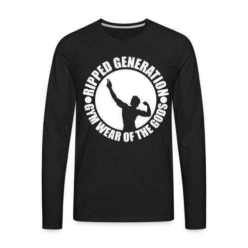 Ripped Generation Gym Wear of the Gods Badge Logo - Men's Premium Long Sleeve T-Shirt