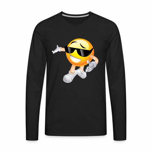 Cool Smiling Face with Sunglasses - Men's Premium Long Sleeve T-Shirt