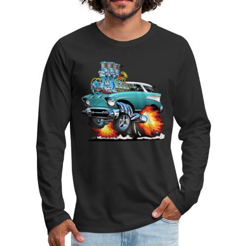 Classic Fifties Hot Rod Muscle Car Cartoon - Men's Premium Long Sleeve T-Shirt