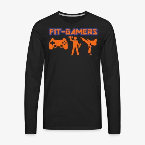 FIT-GAMERS Logo w/ Icons - Men's Premium Long Sleeve T-Shirt