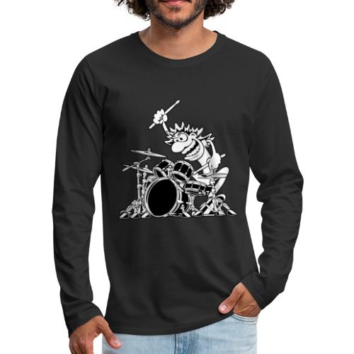 Crazy Drummer Cartoon Illustration - Men's Premium Long Sleeve T-Shirt