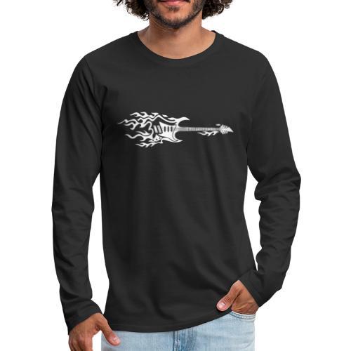 Electric Guitar Fire Illustration - Men's Premium Long Sleeve T-Shirt