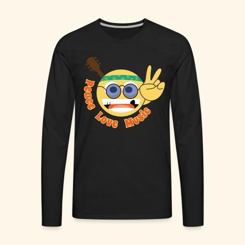 Peace love music hippie smiley - Men's Premium Long Sleeve T-Shirt