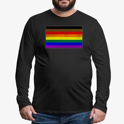 Distressed Philly LGBTQ Gay Pride Flag - Men's Premium Long Sleeve T-Shirt