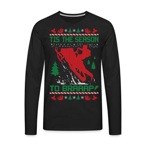 Snowmobile Ugly Christmas - Men's Premium Long Sleeve T-Shirt