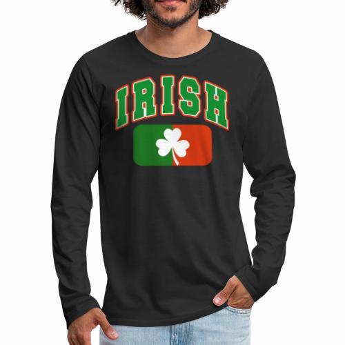Vintage Irish Flag Shirt St Patricks Day Shamrock - Men's Premium Long Sleeve T-Shirt