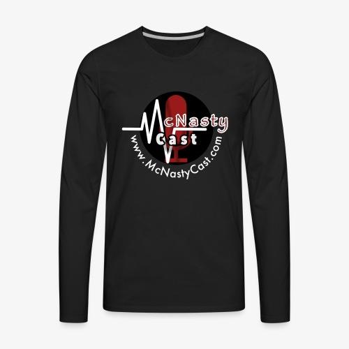 MC Logo with Web Address White - Men's Premium Long Sleeve T-Shirt