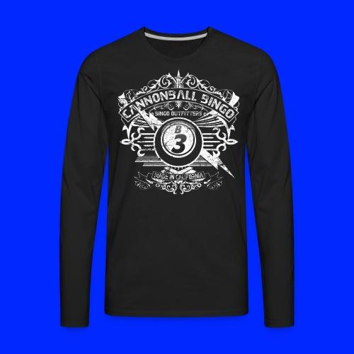 Vintage Cannonball Bingo Crest White - Men's Premium Long Sleeve T-Shirt