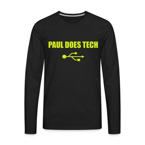 Paul Does Tech Logo Yellow With USB (BS) - Men's Premium Long Sleeve T-Shirt