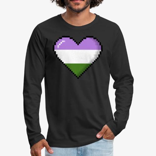 Genderqueer Pride 8Bit Pixel Heart - Men's Premium Long Sleeve T-Shirt