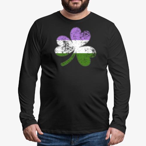 Genderqueer Shamrock Pride Flag - Men's Premium Long Sleeve T-Shirt