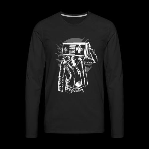 Retro Gamer Head - Men's Premium Long Sleeve T-Shirt