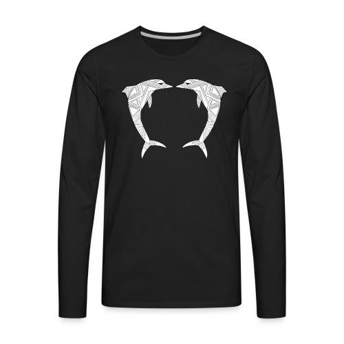 White Art Deco dolphins - Men's Premium Long Sleeve T-Shirt